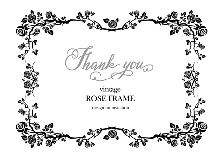 Black elegant frame of roses for holiday design wedding, anniversary, party, birthday. For invitation, ticket, leaflet, banner, poster and tattoo. Fairy flourish design elements