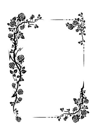 Elegante cornice nera di rose per matrimoni, anniversari, feste, compleanni. Per invito, biglietto, volantino, banner, poster e tatuaggio. Fata fiorire elementi di design Vettoriali