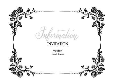 Schwarzer eleganter Rahmen aus Rosen für Urlaubsdesign, Hochzeit, Jubiläum, Party, Geburtstag. Für Einladung, Ticket, Flyer, Banner, Poster und Tattoo
