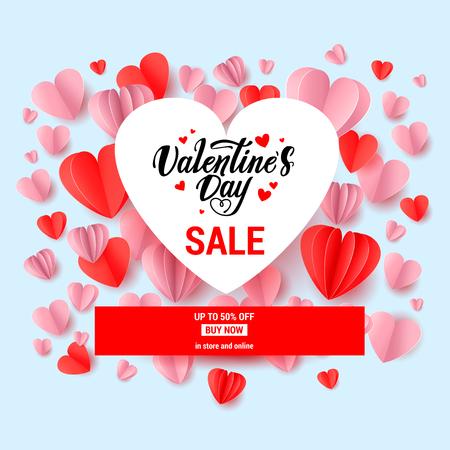 Festive banner for Valentine s Day sale. Holiday design elements. Promo seasonal offer. Illusztráció