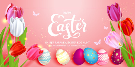 Happy Easter holiday banner. Beautiful background with realistic colored Easter eggs and tulips. Festive vector illustration. Illustration