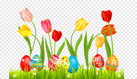 Easter eggs and tulips on a grass. Holiday design element isolated for card, banner, ticket, leaflet, poster and so on. Template with space for text.