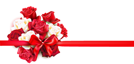 Holiday vector bouquet. Festive greeting card with roses and ribbon. Vector illustration.