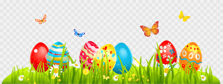 Easter eggs and batterflies on a grass. Holiday design element isolated for card, banner, ticket, leaflet, poster and so on. Template with space for text.