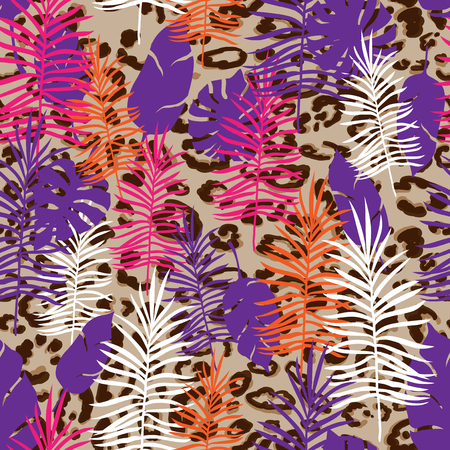 Seamless Pattern Exotic Floral Background. Tropical Flowers and Leaves on leopard skin print. Reklamní fotografie - 124773917