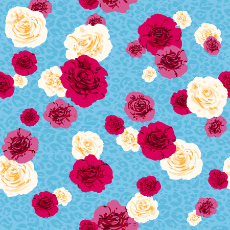 Fashion animal skin and flowers. Textured seamless pattern. Sketch floral background. Çizim
