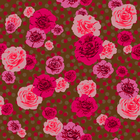 Fashion vintage flowers print. Textured seamless pattern. Sketch floral background.