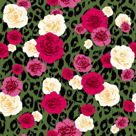 Fashion animal skin and flowers. Textured seamless pattern. Sketch floral background. Illustration