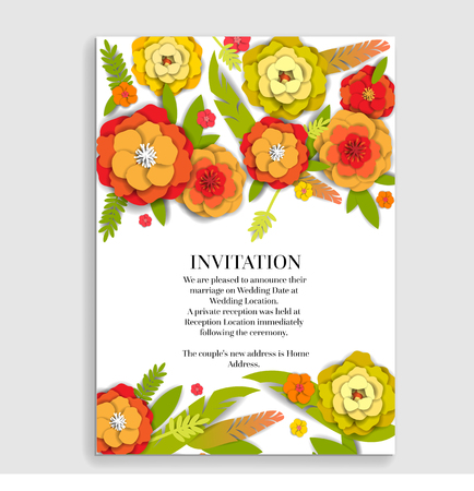 Wedding invitation floral card. Paper cut flowers for decor, realistic effect. Bright holiday design.