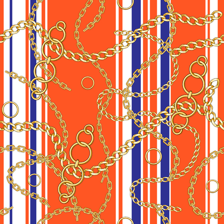 Abctract seamless pattern with belts, chain on bright background for fabric. Trendy repeating background.