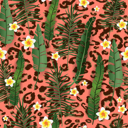 Seamless Pattern Exotic Floral Background. Tropical Flowers and Leaves on Living coral Backdrop. Cartoon Greenery Design for Invitation, Flyer, Poster or Card.