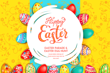 Easter eggs on a bright yellow background. Easter holiday backdrop for design card, banner, ticket, leaflet, poster and so on. Happy Easter poster.