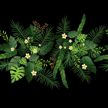 Seamless Pattern Exotic Floral Background. Tropical Flowers and Leaves on Black Backdrop. Greenery Dark Border Seamless Design Ilustrace