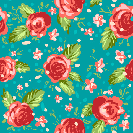Vintage floral seamless pattern. Trendy repeating roses background.