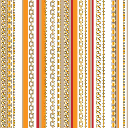 Abctract seamless pattern with belts, chain on bright animal skin background for fabric. Trendy repeating leopard print. Ilustrace