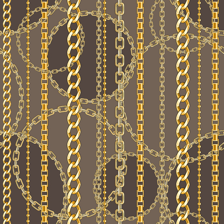 Seamless pattern with belts, chain on bright animal skin background for fabric. Trendy repeating print.