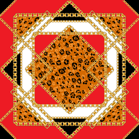 Tile seamless pattern with golden chain with animal skin background for fabric. Trendy red repeating leopard print.  イラスト・ベクター素材