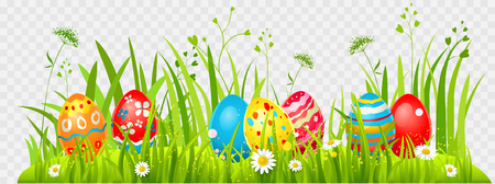Easter eggs hunting on a grass. Holiday design element isolated for card, banner, ticket, leaflet, poster and so on. Template with space for text.