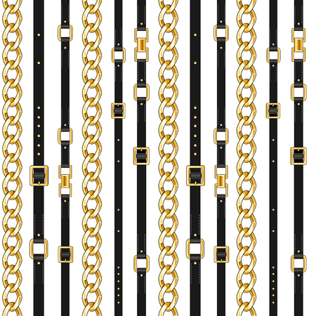 Abctract seamless pattern with belts and chain isolated for fabric. Trendy repeating print. Illustration