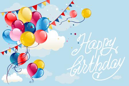 Fondo de feliz cumpleaños con globos y banderas en el cielo azul. Ilustración de dibujos animados de vacaciones.