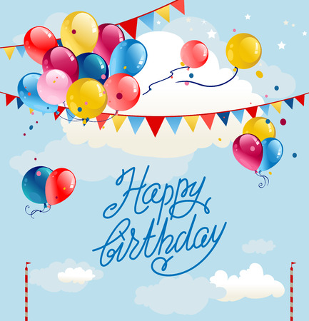 Festive frame with balloons and flags on blue sky. Happy birthday cartoon illustration.