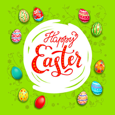 Easter eggs bright green congratulation card. Easter holiday template for design card, banner, ticket, leaflet, poster and so on. Happy Easter lettering
