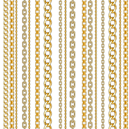 Abctract seamless pattern with gold chain isolated for fabric. Trendy repeating print.
