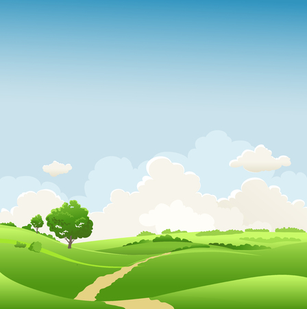 Summer or spring landscape with tree for design banner, ticket, leaflet, card, poster and so on. Green grass and blue sky seasonal scenery.