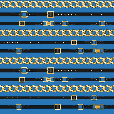 Blue seamless pattern background with belts and chain for fabric. Trendy repeating print.