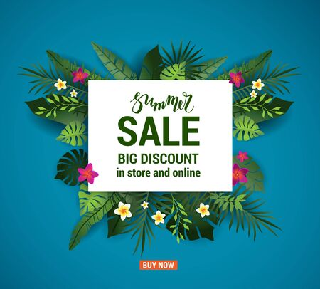 Advertising template for seasonal sales. Summer sale banner with palm leaves and flowers. Tropical background. Blue vector illustration.