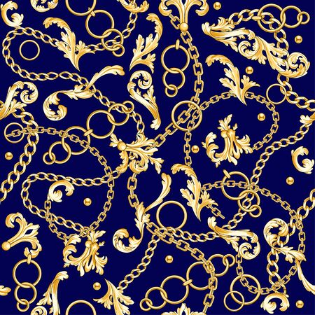 Golden baroque elements flourishes and chains mixed on blue. Seamless pattern. Illustration