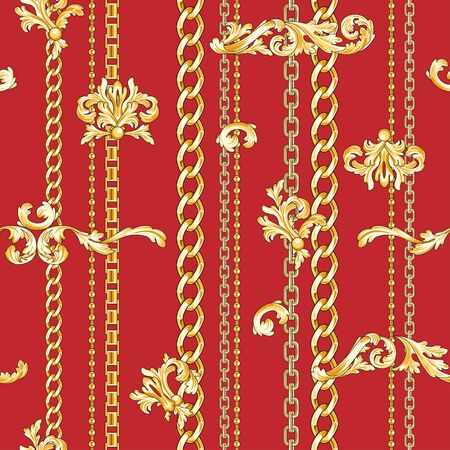 Trendy baroque elements flourishes and chains mixed background. Seamless pattern. Fashion print. Illustration