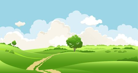 Summer or spring landscape for design banner, ticket, leaflet, card, poster and so on. Green grass, cloudy sky and a tree scenery.
