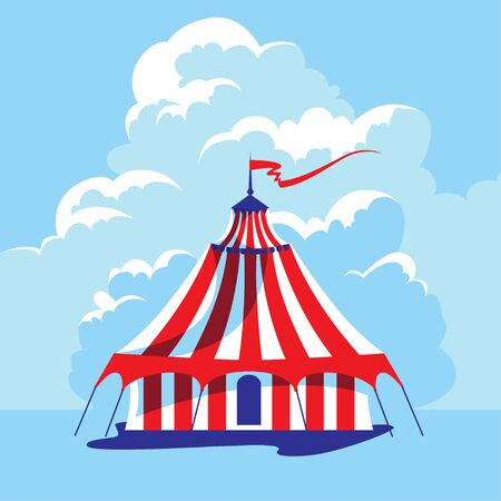 Circus tent and cloudy sky. Retro illustration