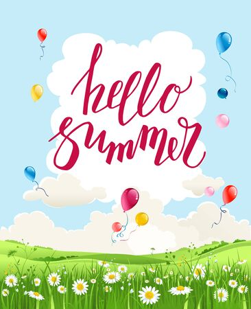 Summer vector landscape with trees and meadow of flowers. Sky, green grass and butterflies. Hello summer lettering.