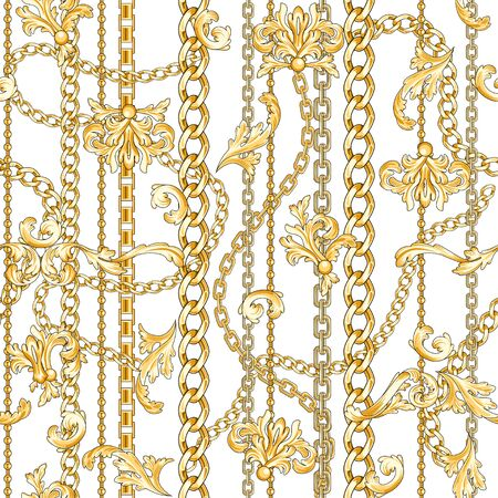 Golden baroque flourishes and chains mixed on white. Trendy seamless pattern.