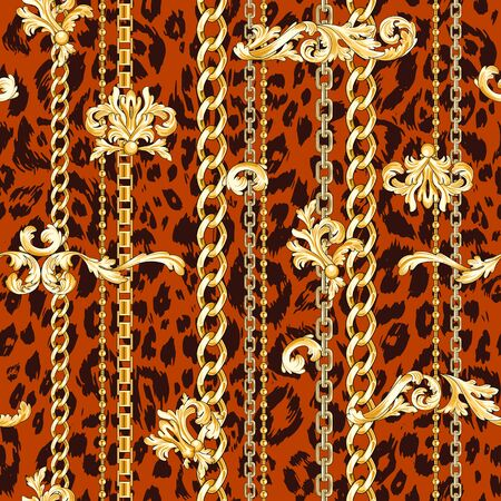 Gold baroque flourishes and chains mixed on animal skin. Trendy seamless pattern. Illustration