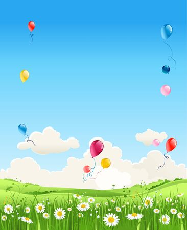 Summer vector meadow of flowers and balloons. Sky, flowers and green grass.