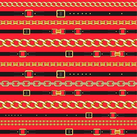 Trendy repeating print. Seamless pattern with black belts and gold chain mixed on red background.