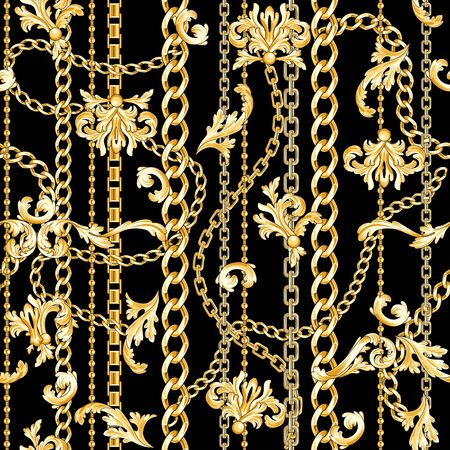 Gold baroque elements and chains mixed on black. Trendy seamless pattern. Иллюстрация