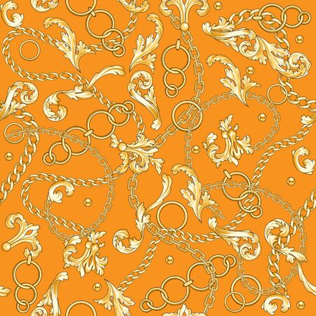 Golden baroque flourishes and chains mixed on yellow backdrop. Trendy seamless pattern. Illustration