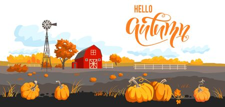 Autumn countryside landscape. Rural illustration with pumpkins, crows and barn. Seasonal harvest banner. Hello autumn lettering Illustration