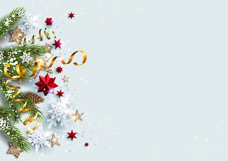 Light backdrop with festive decorations baubles, stars, snowflakes. Christmas festive template.