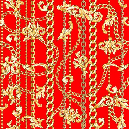 Golden flourishes and chains mixed on bright red backdrop. Trendy retro seamless pattern.