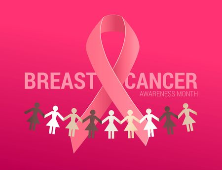 Realistic pink ribbon with a paper garland of women together as help and support symbol. October National Breast Cancer Awareness Month symbol.