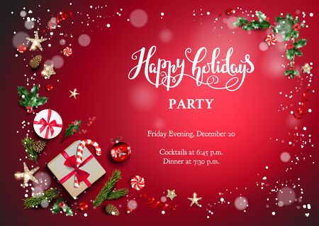 Red bright holiday card Banque d'images - 134362199