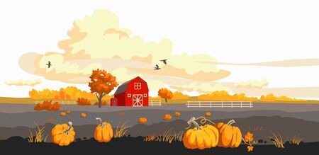 Red barn on a fild autumn illustration