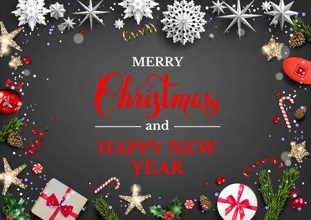 Festive dark card with Christmas decorations
