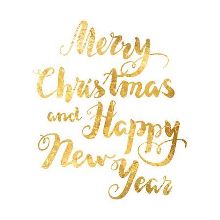 Handwritten Christmas gold Inscription on white. Illustration
