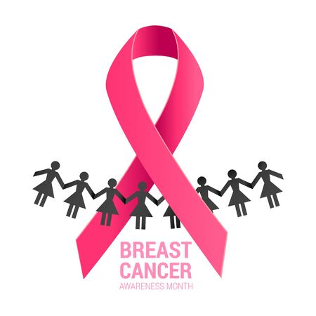 pink ribbon with a women silhouette together